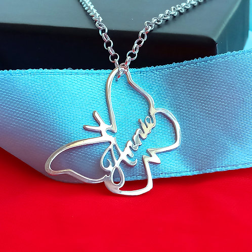 usanamenecklace.com, namenecklace, butterfly name necklace, butterfly necklace, nameplate necklace, personalized butterfly