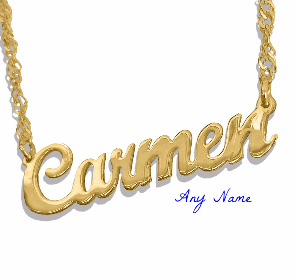 Usa Name Necklace | Custom Name Jewelry | Name Necklace 18K gold plated