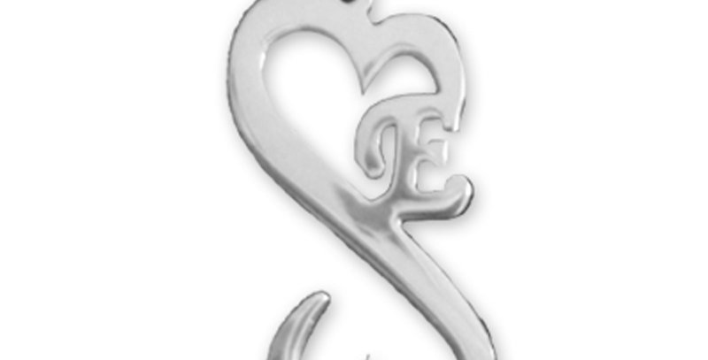 Personalized Initial Heart Necklace, Sterling Silver