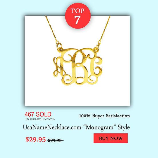 Monogram Name Necklace , Monogram Necklace , UsaNameNecklace, Name Necklace , Initial Necklace , Gold Monogram , Monogram Jewely
