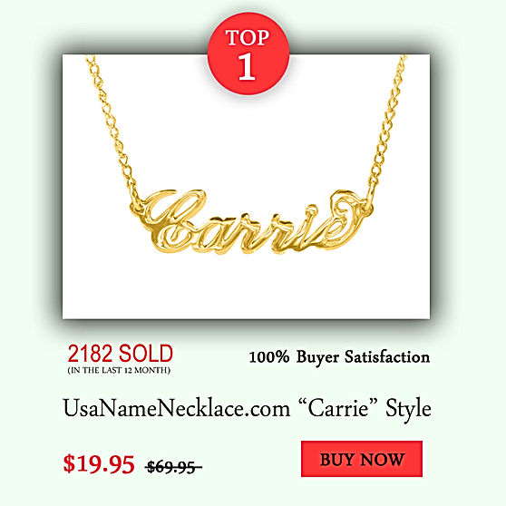 USA Name Necklace, Name Necklace, Personalized Name Necklaces , Carrie Name Necklace , Gold Name Necklace