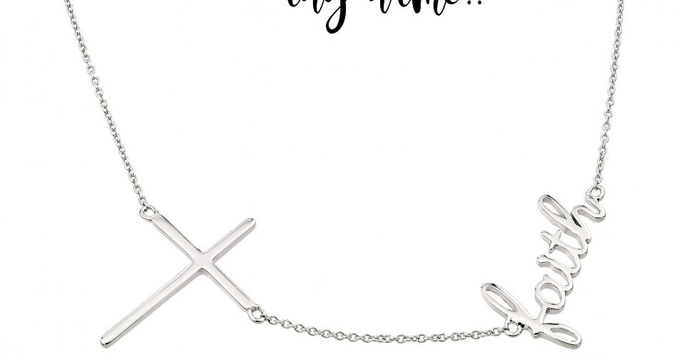Personalized Cross Name Necklace Sideways