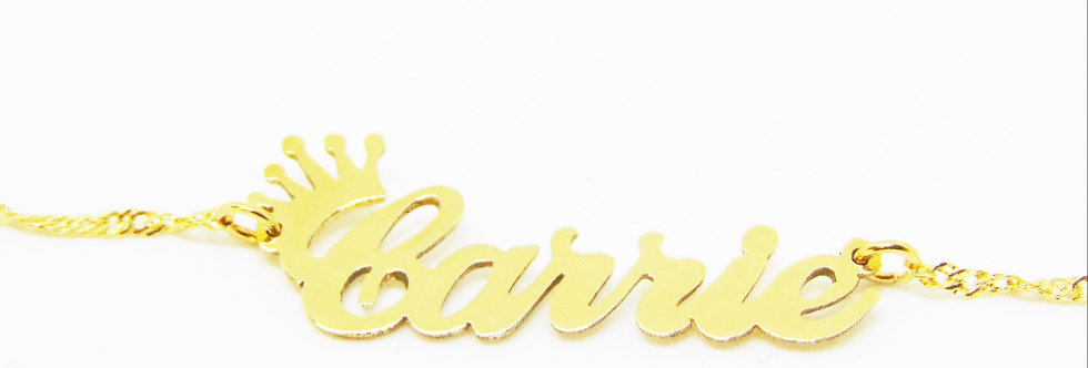Custom Crown Name Necklace, 24K Gold Plated