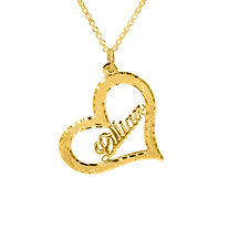UsaNameNecklace, Heart Name Necklace