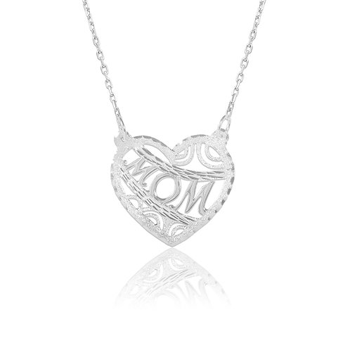 Personalized Sterling Silver Heart MOM Name necklace. Usa Name Necklace