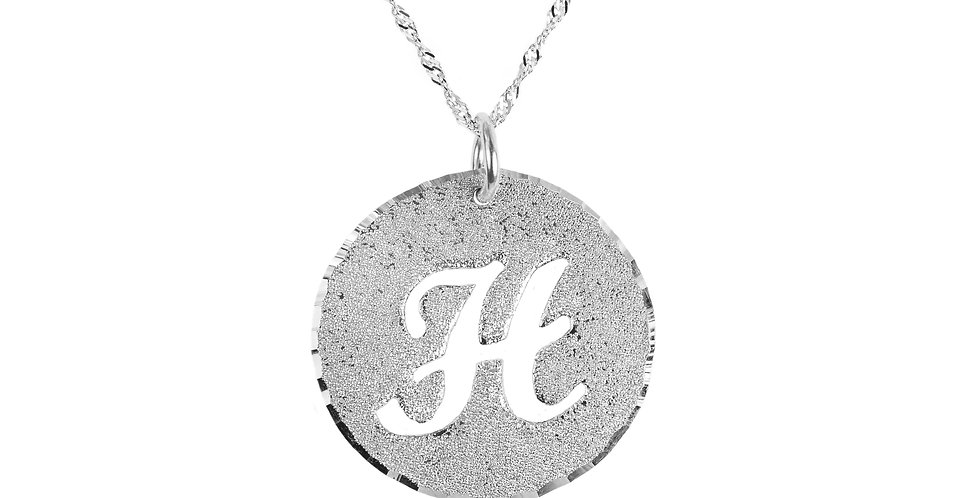 Custom Any Initial Sterling Silver Necklace Round Disk | UsaNameNecklace.com
