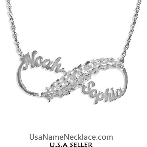 Infinity Name Necklace, Usa Name Necklace , Personalized Jewelry