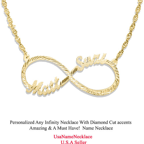 Custom Infinity Name Necklace | Usa Name Necklace | Custom Name.