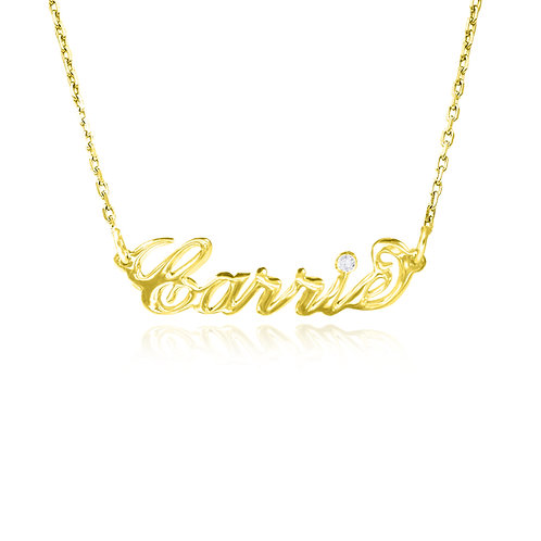 Personalized Diamond Name Necklace , 14K Gold Extra thick