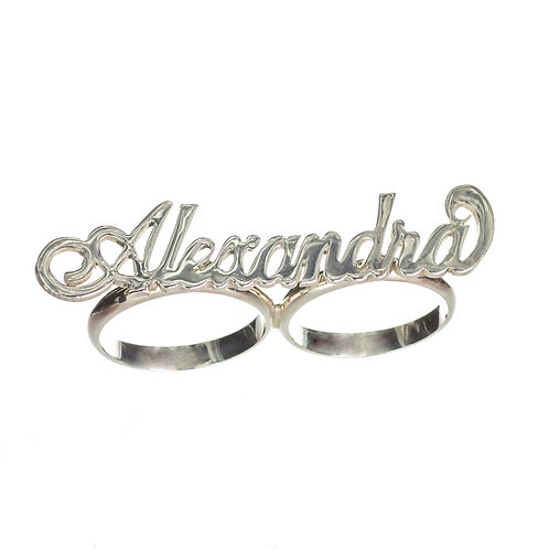 Personalized Sterling Silver 2 Finger Name Ring Jewelry