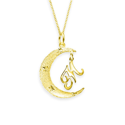 USA Name Necklace | Personalized Moon initial Necklaces , mom name necklace