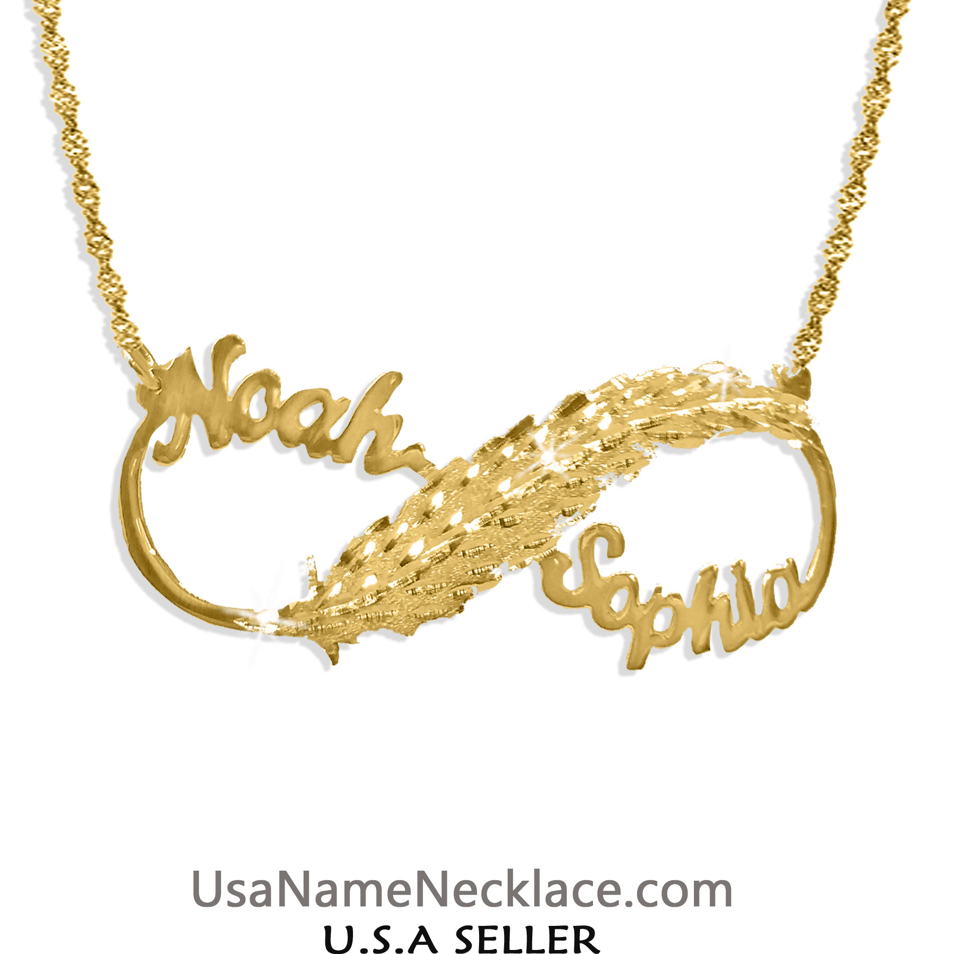 9bacae1154ee6 Personalized Infinity 2 Name Necklace 14K Gold-plated , Feather-Love  Infinity   usanamenecklace