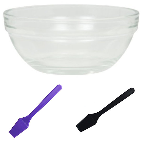Glass Mixing Bowl w/ Mini Spatula