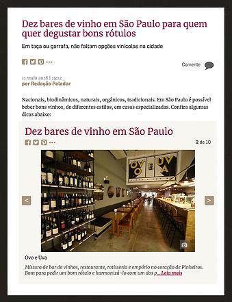 Revista Folha: dez bares de vinho em são paulo