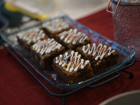 Festive Blondies with Chocolate, Dried Fruit, and Nuts