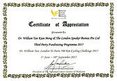 National Cancer Society Malaysia Certificate of Appreciation
