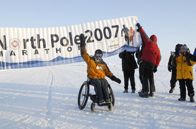 In April 2007, Dr Tan has become the first man to complete the North Pole marathon on wheelchair.