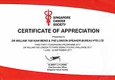 Singapore Cancer Society Certificate of Appreciation