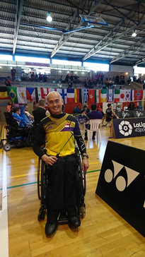 Competing for Singapore at the Spanish International Championships in Badminton
