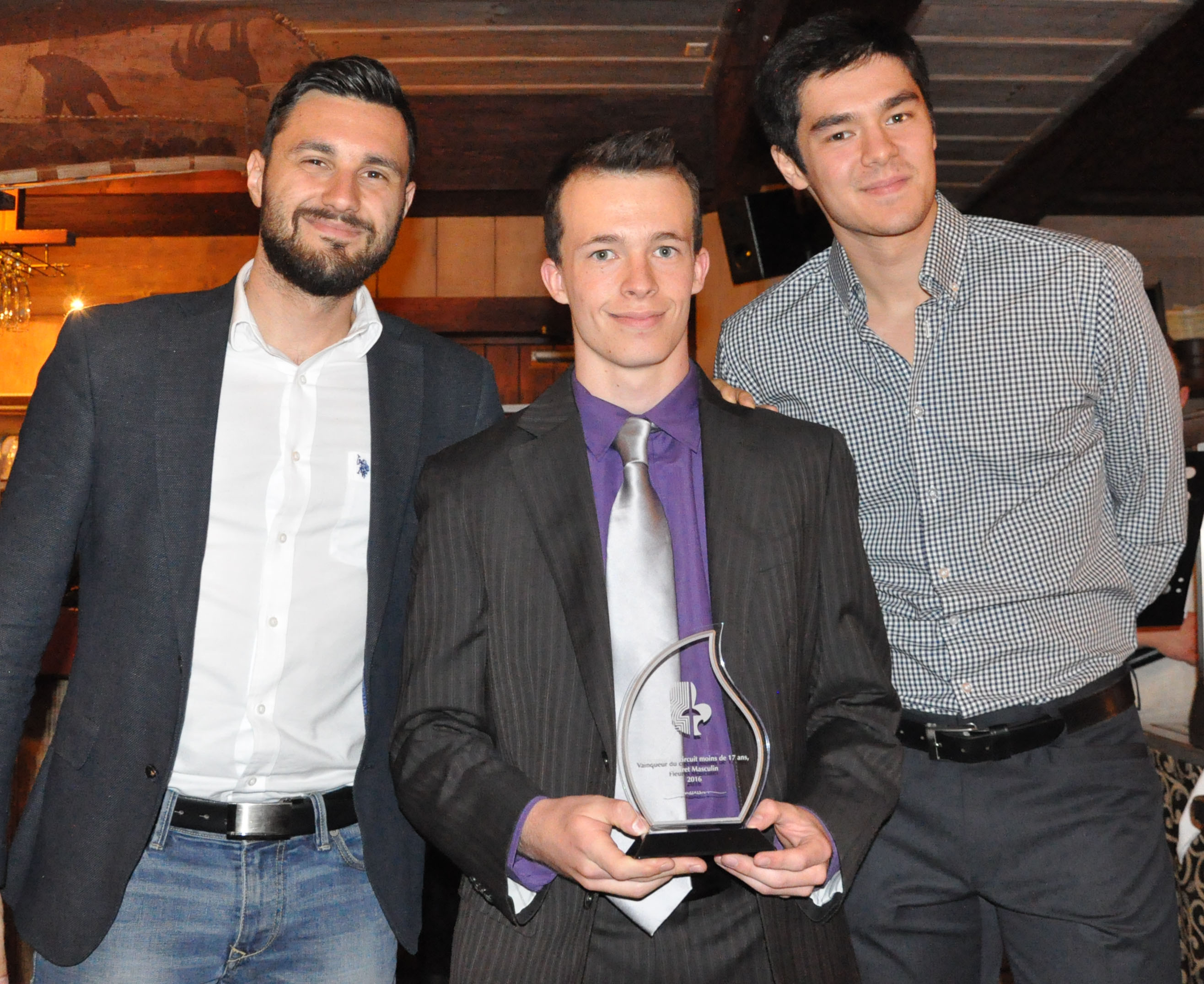 Joseph Polossifakis - Francis Bouchard - Maximilien Van Haaster Champion Fleuret masc cadet et AAA