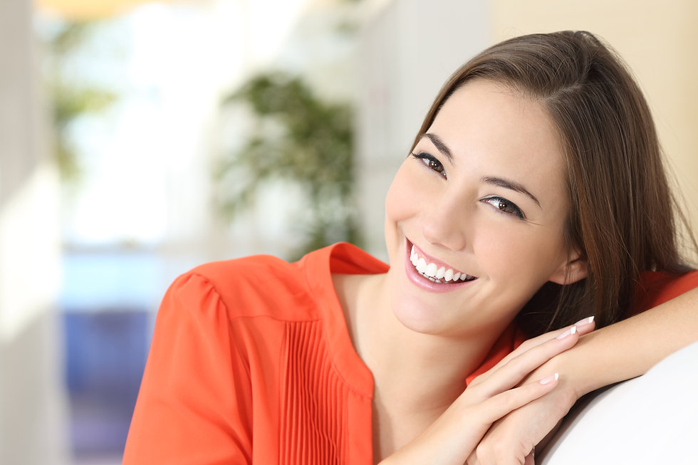 Beauty woman with perfect white teeth an