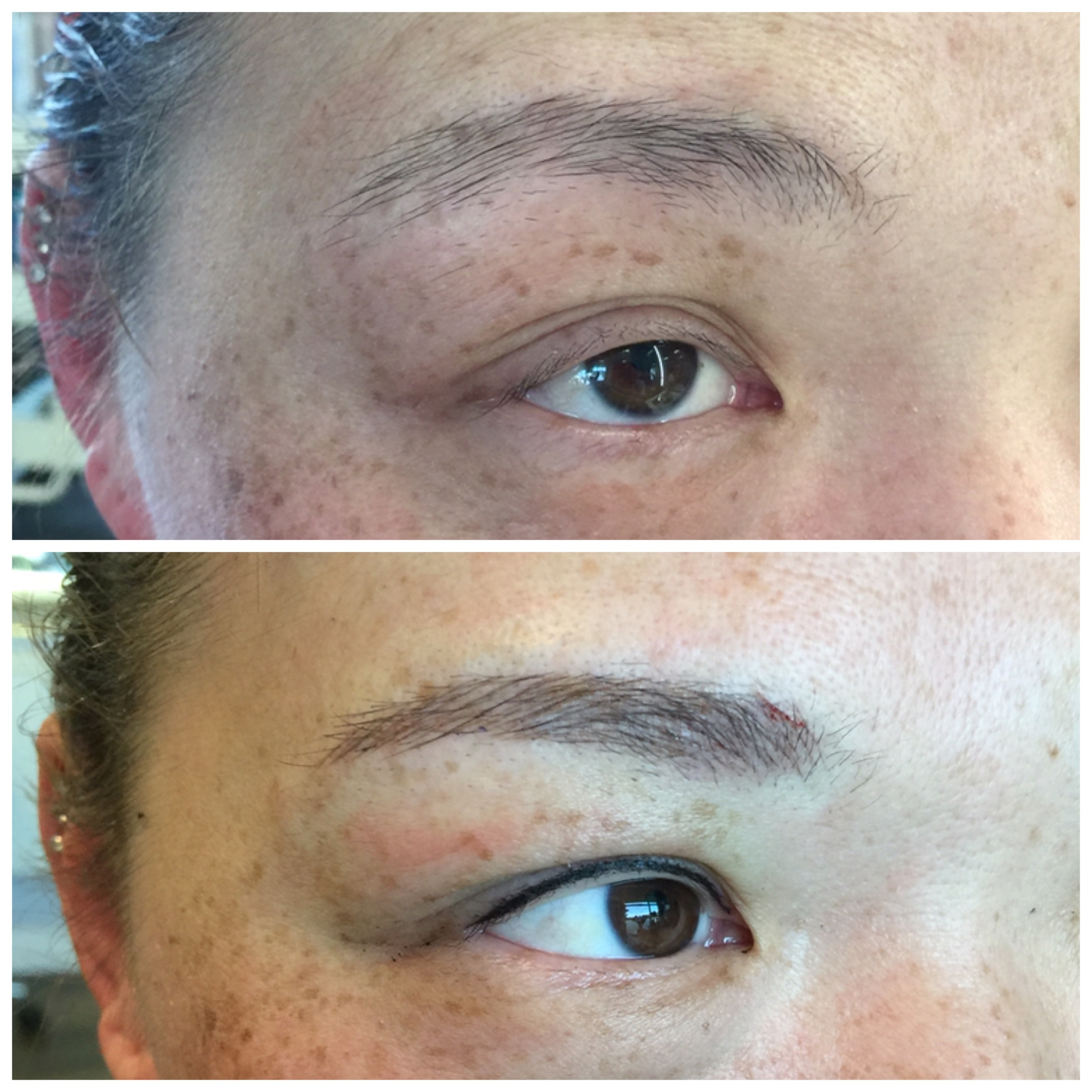 3D microblading + invisible eyeliner