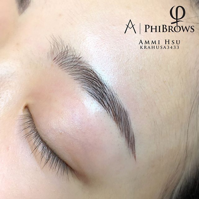 Filled in the empty spots, she loves her new eyebrows! ________________________________________Micorblading $500_(4-8week touch up appt incl