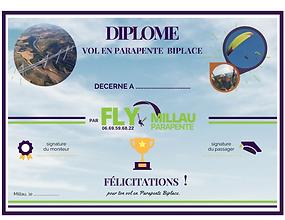 Diplôme Fly Millau Parapente