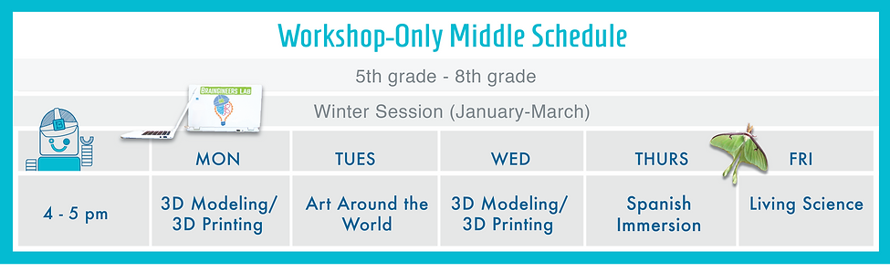 Workshop Only Middle Schedule Winter 201