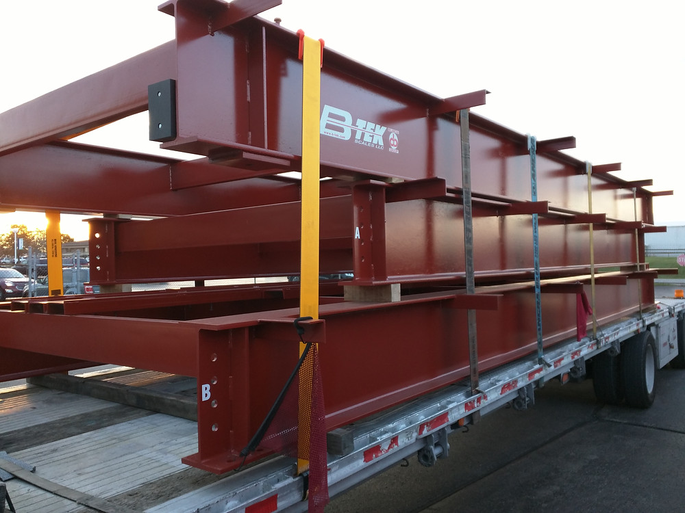 Red truck scale on a truck waiting to be installed