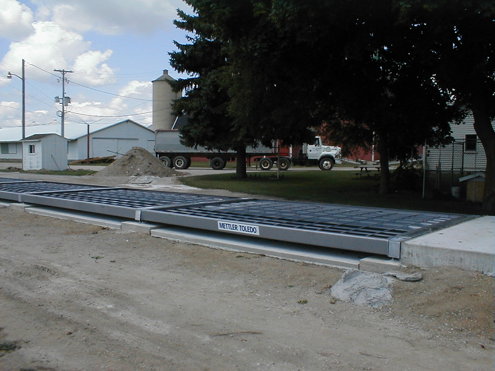 Truck carrying base plates for an industrial scale at DTE Energy in Michigan