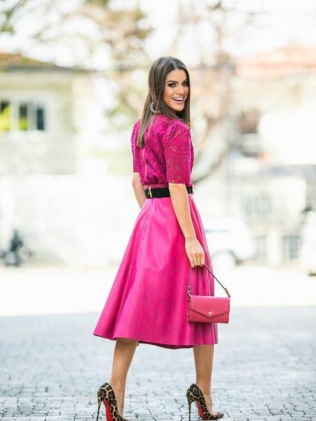 Inspiração perfeita: Camila Coelho – SPFW – Look Total Pink