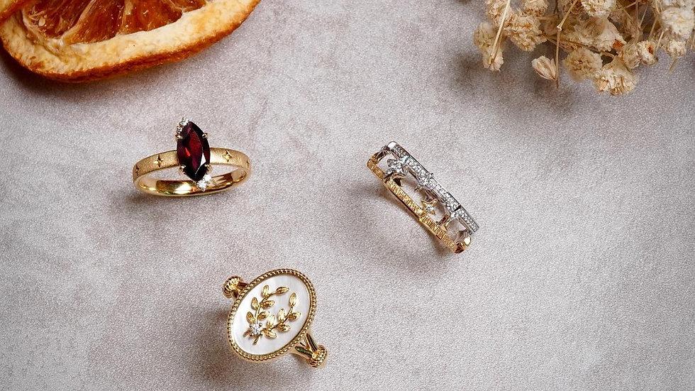 18K 白蝶貝稻穗鑽石戒指