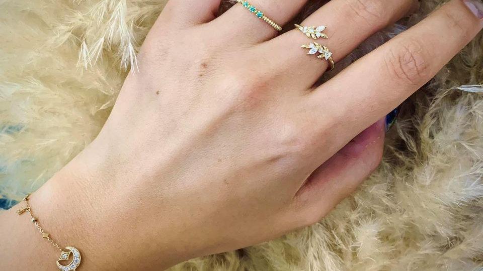 18K 月桂葉鑽石開口戒