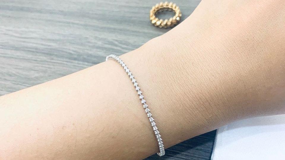 18K 貴婦的一克拉鑽石手鏈 (客訂製作款)