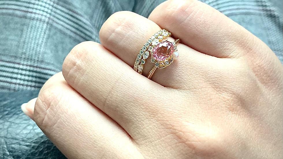 18K 粉紅碧璽珍珠戒指