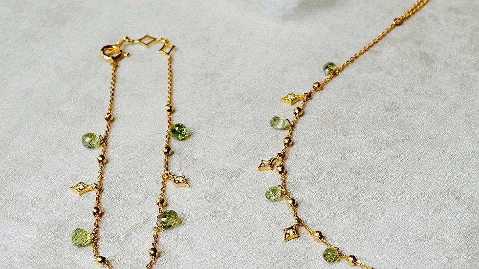 18K 綠色藍寶鑽石星星手鍊