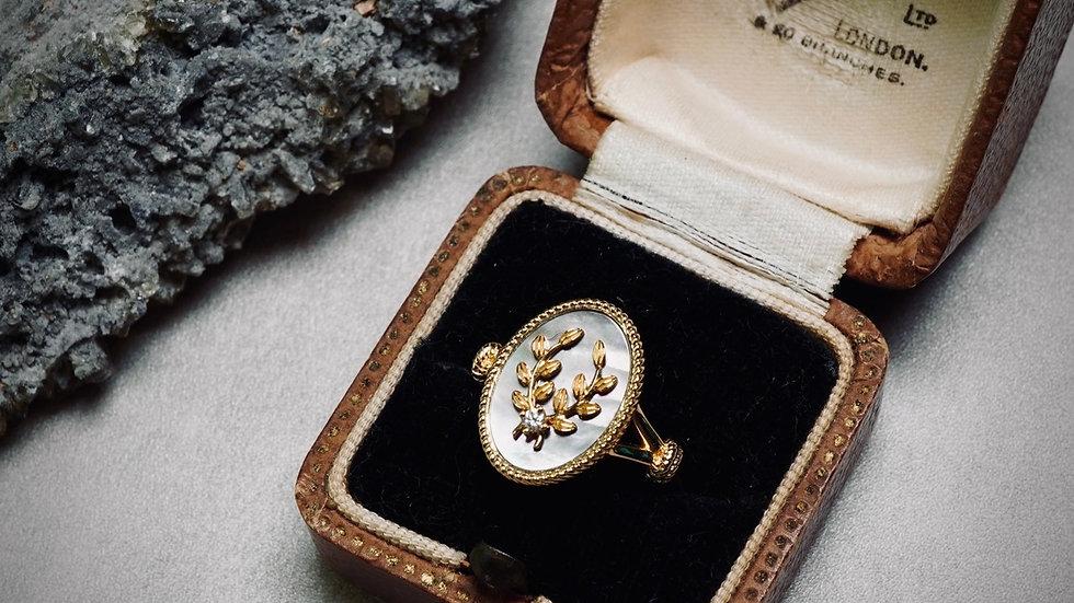 18K 黑蝶貝稻穗鑽石戒指