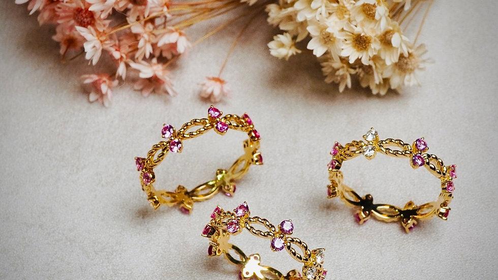 18K 小青鳥粉紅藍寶石鑽石戒指