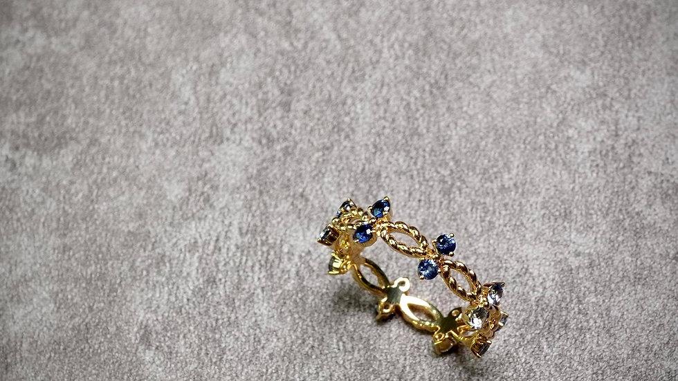 18K 小青鳥藍寶石鑽石戒指