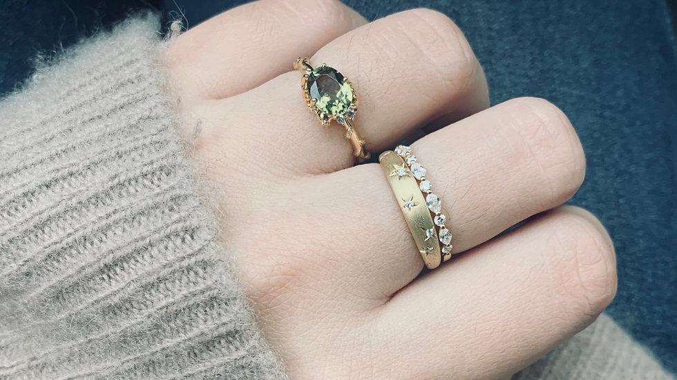 18K 綠碧璽籐蔓鑽石戒指