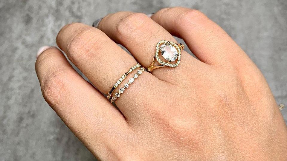18K 歐式古典花型托帕石鑽石戒指