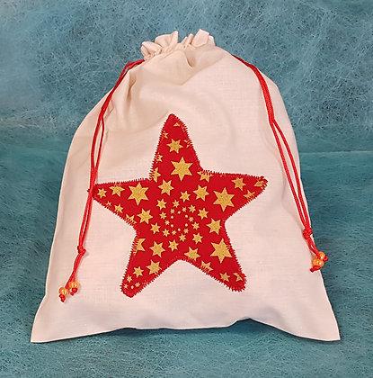 Pochette en tissu motif écru étoile rouge