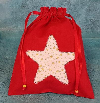 Pochette en tissu motif rouge étoile
