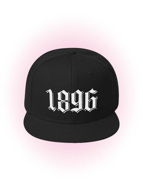 1896 - Embroidered Flat Bill Snapback Hat
