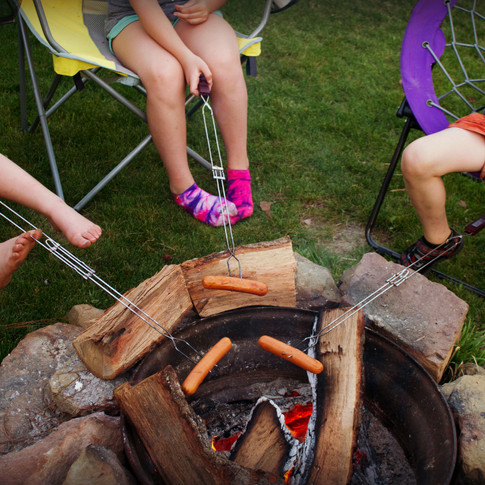 Hot dogs on the fire
