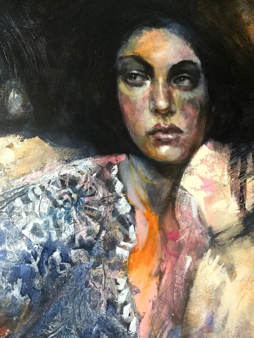 I am working on canvas using oil paint and cold wax medium.  I will be teaching a TRIOS class online introducing this beautiful  combination soon!  Email me if you would like to be invited to this class when it's available.