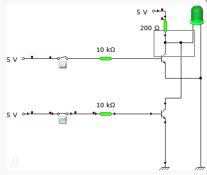 Circuit connection when one input is LOW and the other is HIGH