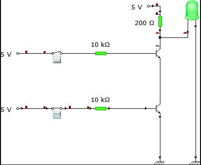 Circuit connection when one of the inputs are LOW and the other is HIGH.