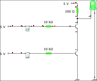 Circuit connection when one of the inputs are HIGH and the other is LOW.